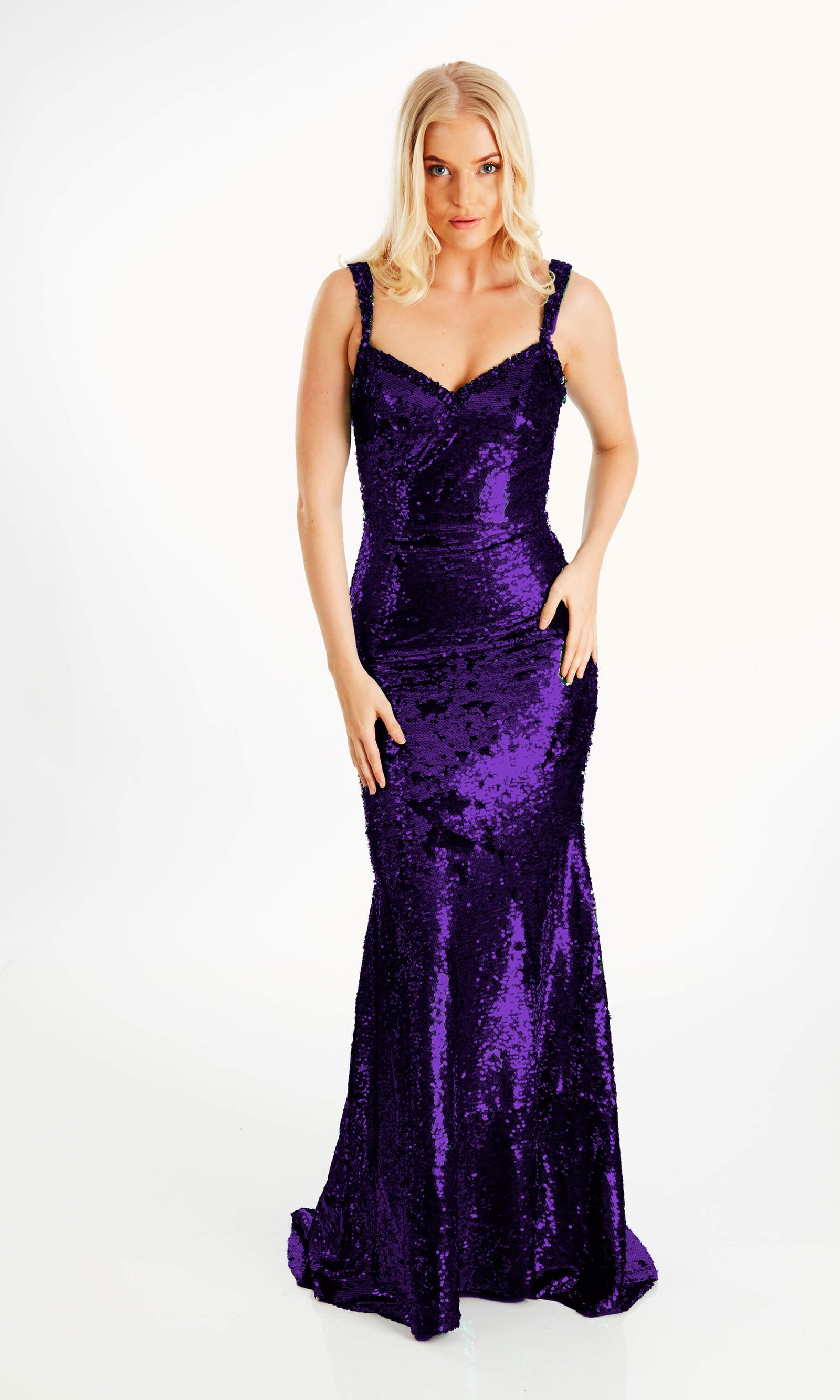 Leonie Purple Crystal Breeze Sequin Dress & Fishtail Skirt