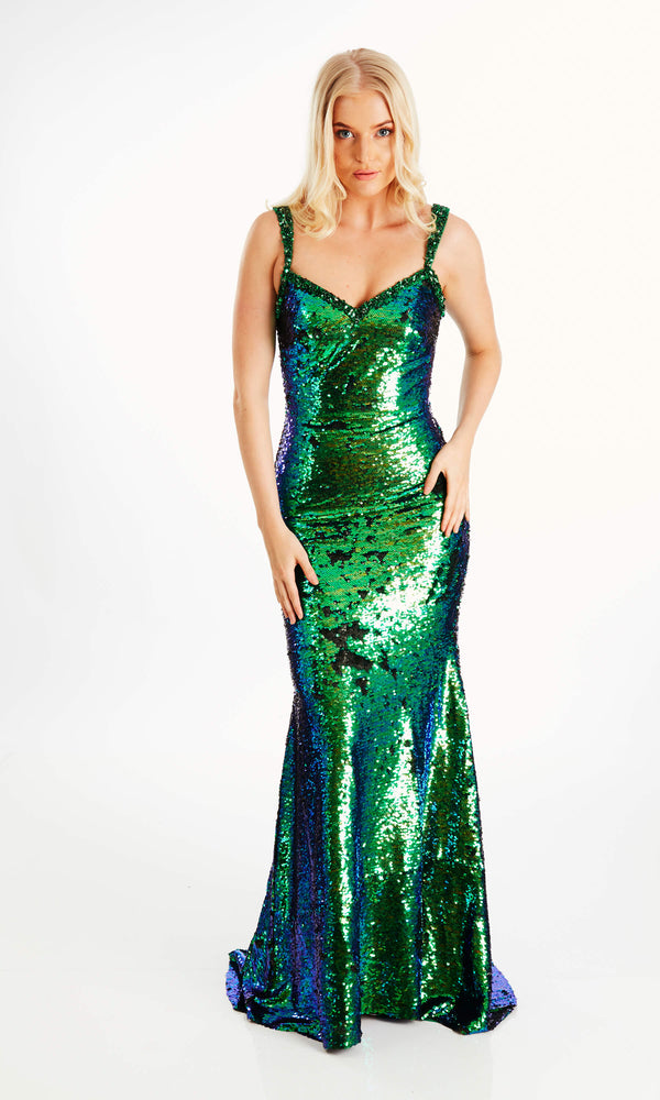 Leonie Green Crystal Breeze Sequin Dress & Fishtail Skirt
