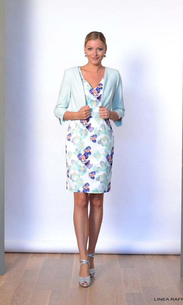 Set 330 Linea Raffaelli Mint Floral Dress & Bolero Jacket - Fab Frocks