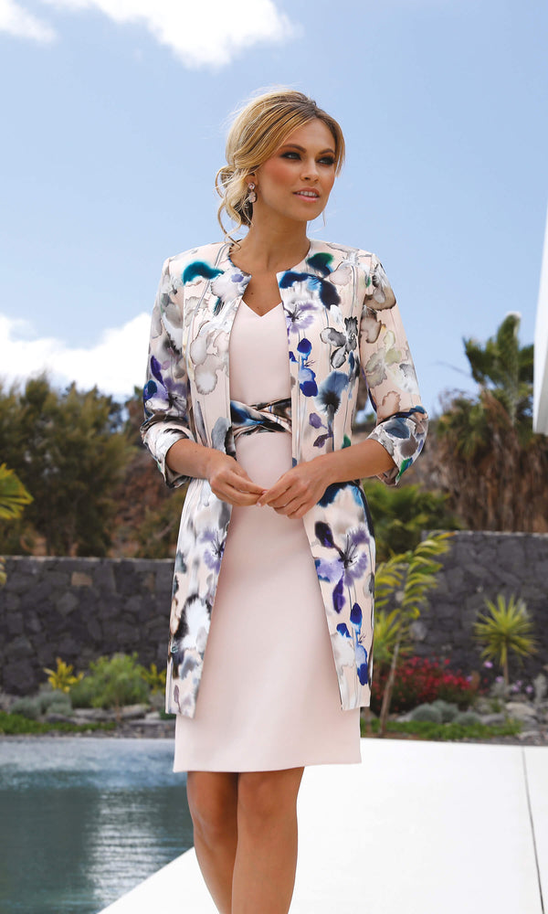 Set 34 Blossom Pink Linea Raffaelli Dress & Print Coat - Fab Frocks