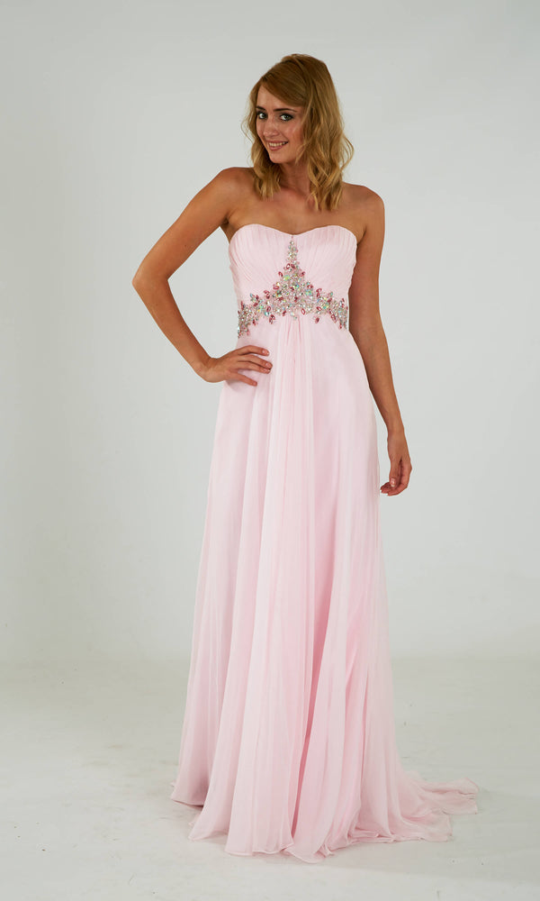 Lisa-Marie Peony Crystal Breeze Strapless Floaty Dress