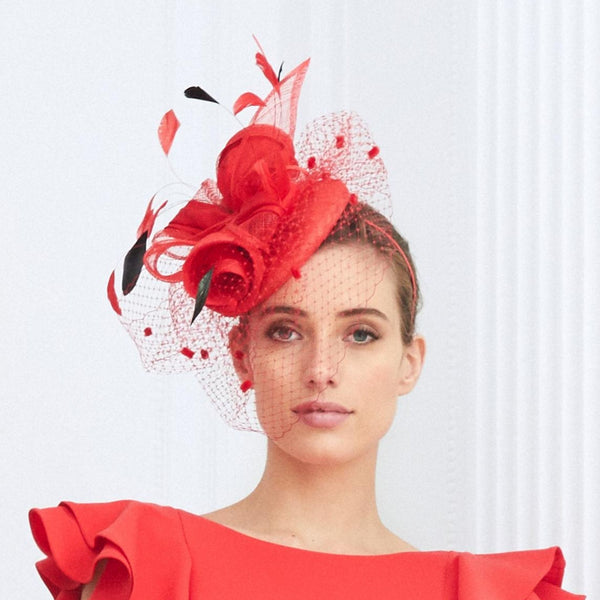 LC2057 Coral Black Luis Civit Fascinator - Fab Frocks