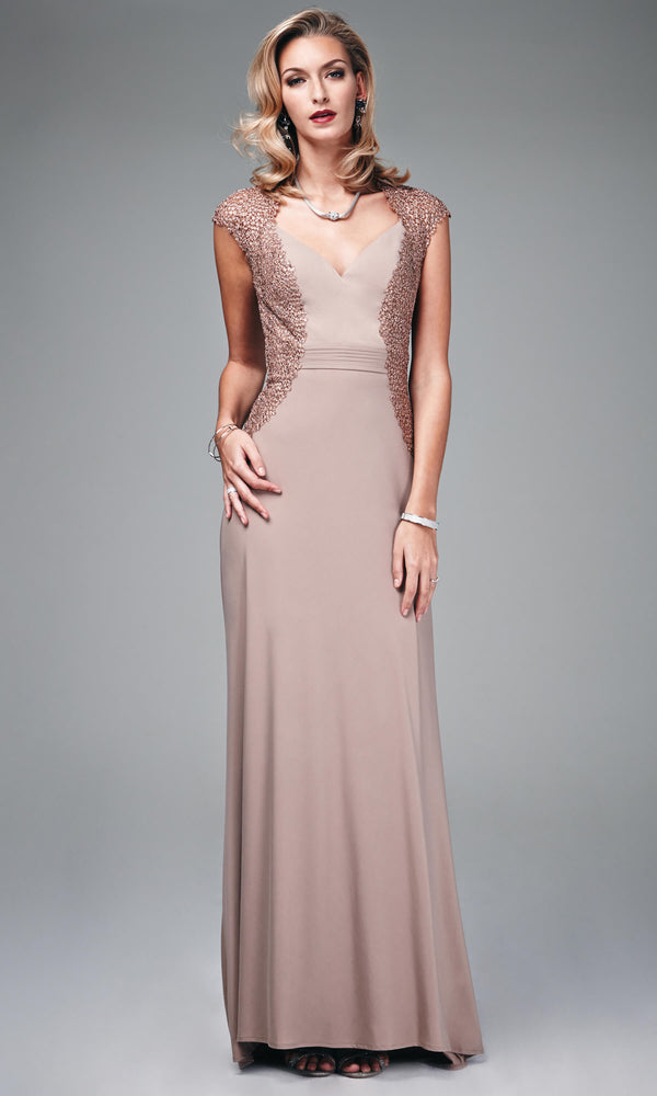 MC181064G Taupe Mascara Evening Dress With Cap Sleeves - Fab Frocks