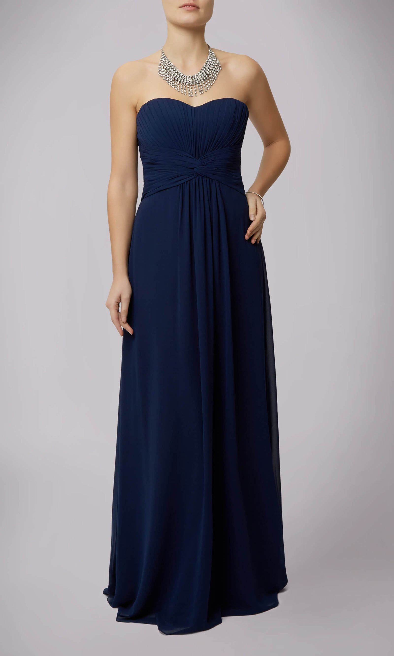 MC181090G Navy Mascara Dress With Sweetheart Neckline