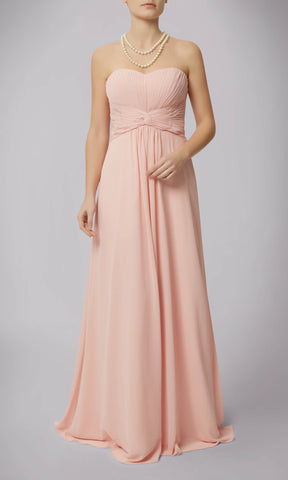 MC181090G Peach Mascara Strapless Chiffon Evening Dress - Fab Frocks
