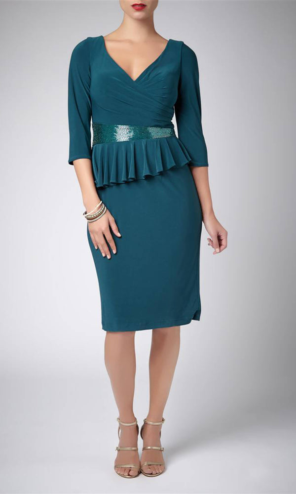 MC185144C Forest Green Mascara Peplum Cocktail Dress