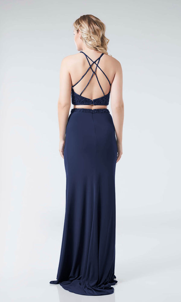 Misty Navy Tiffanys Illusion Two Piece Prom Evening Dress - Fab Frocks