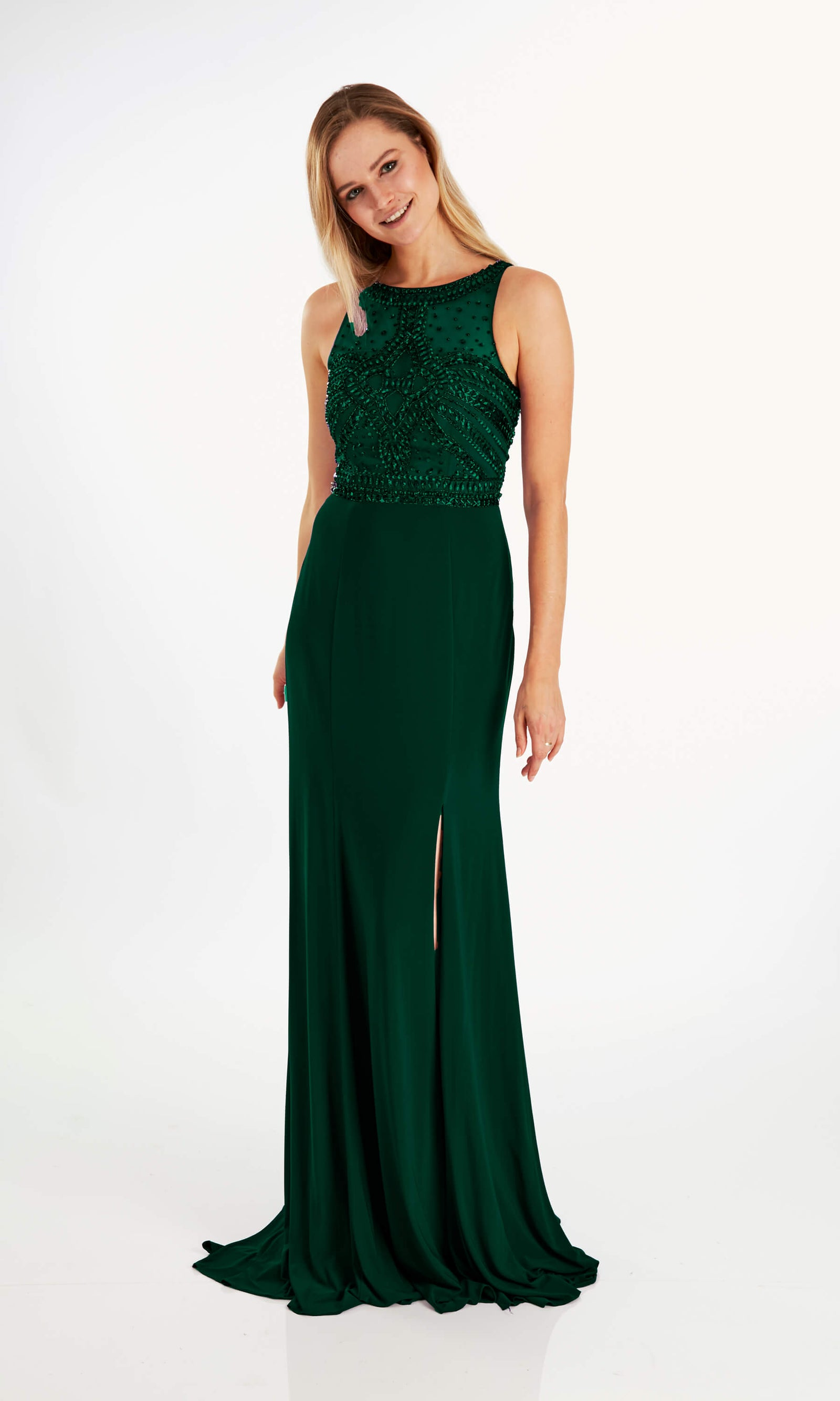 Mona Green Crystal Breeze High Neck Evening Dress - Fab Frocks