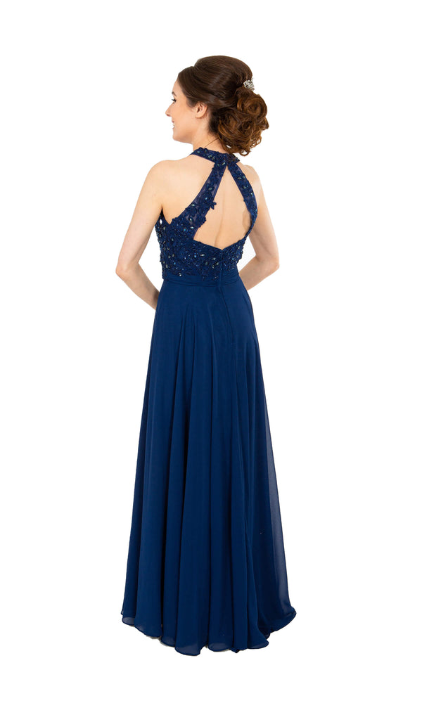 PF9283 Navy Prom Frocks Dress Beaded Bodice Floaty Skirt - Fab Frocks