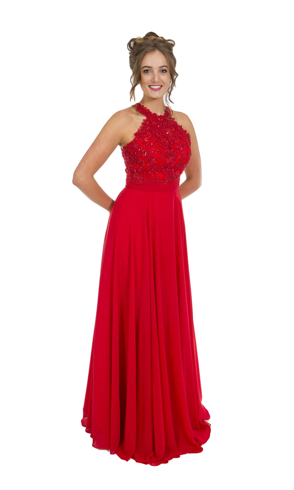 PF9283 Red Prom Frocks Dress With Crystal Bodice & Straps