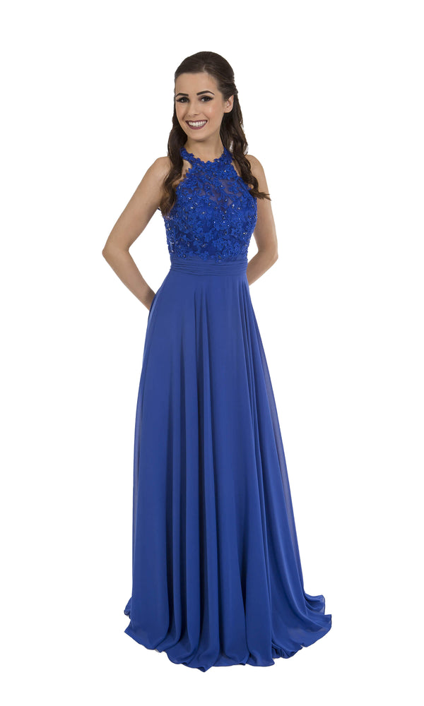 PF9283 Royal Blue Prom Frocks Dress With Illusion Neckline - Fab Frocks