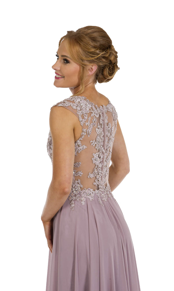 PF9400 Lavender Prom Frocks Dress With Mesh Bodice - Fab Frocks