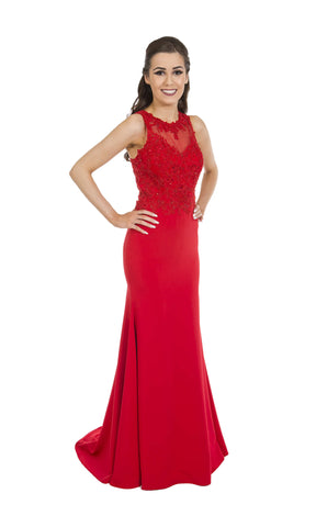 PF9421 Red Prom Frocks Dress With Racer Back & Train - Fab Frocks