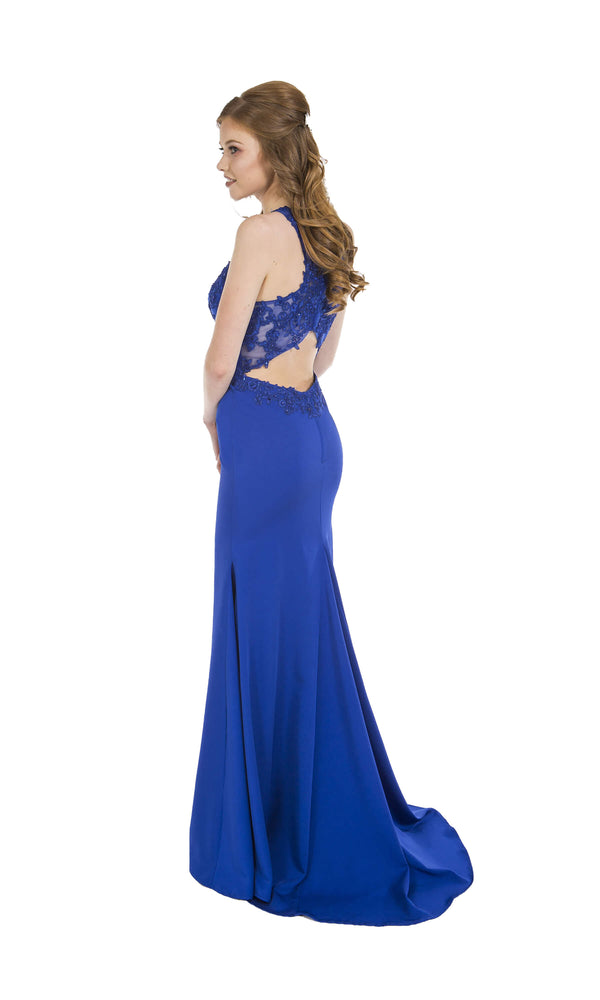 PF9421 Sapphire Prom Frocks Dress With High Illusion Neckline - Fab Frocks
