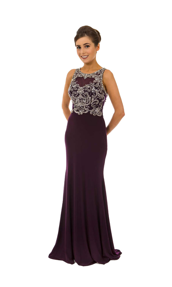 PF9480 Aubergine Prom Frocks Dress With Open Cut-Out Back
