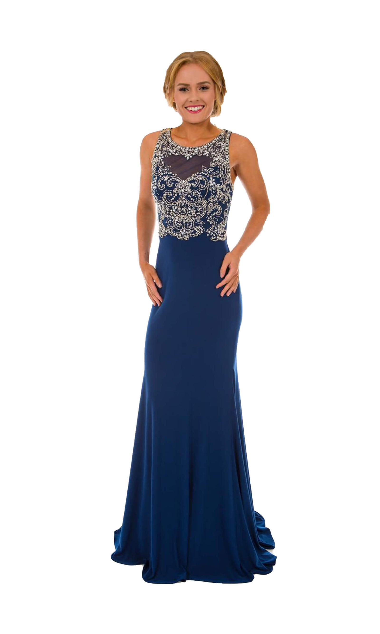 PF9480 French Navy Prom Frocks Dress With Keyhole Back - Fab Frocks