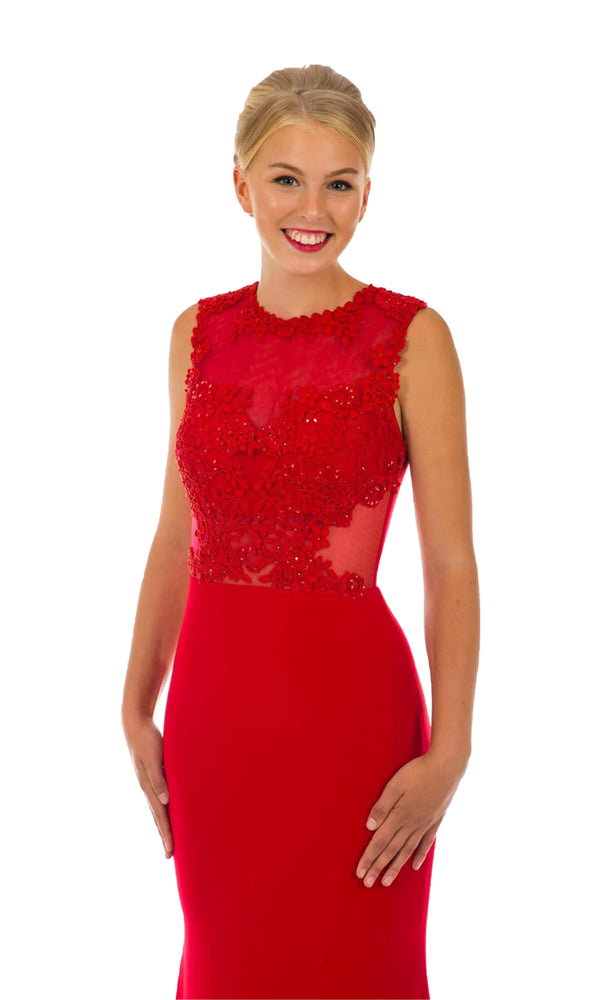 PF9519 Red Prom Frocks Dress With High Neck And Net Back - Fab Frocks