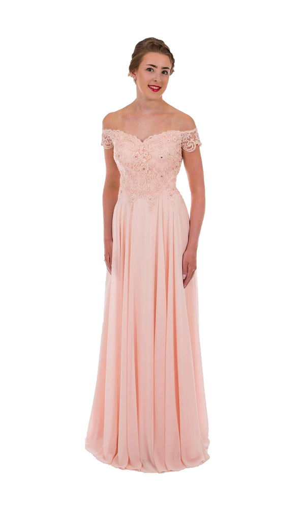 PF9520 Blush Pink Prom Frocks Off The Shoulder Dress