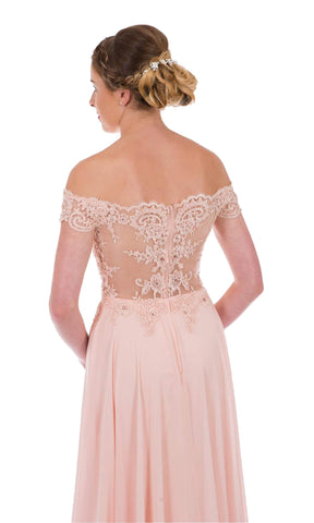 PF9520 Blush Pink Prom Frocks Off The Shoulder Dress - Fab Frocks