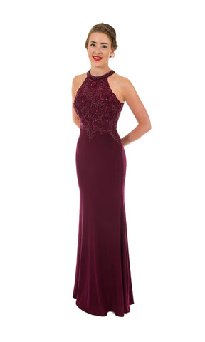 PF9530 Blackcurrant Prom Frocks Racer Back Beaded Dress - Fab Frocks