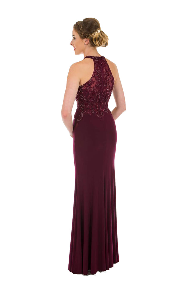 PF9530 Blackcurrant Prom Frocks Racer Back Beaded Dress