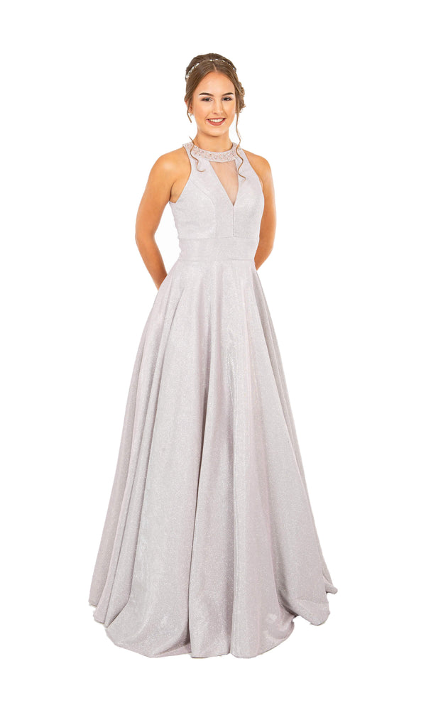 PF9602 Nude Pink Prom Frocks Dress In Shimmer Fabric - Fab Frocks