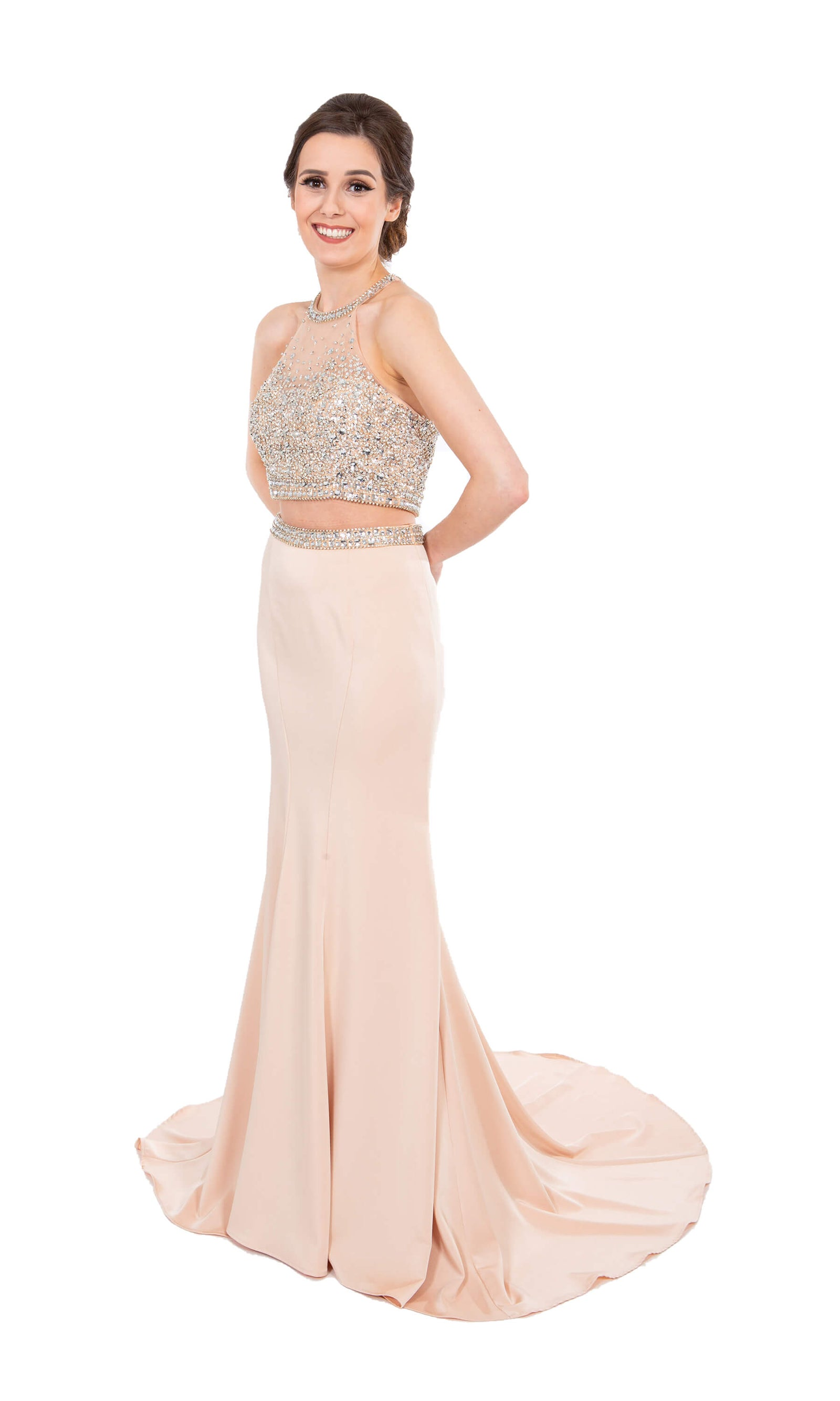 PF9636 Nude Prom Frocks Two Piece Dress With Train - Fab Frocks