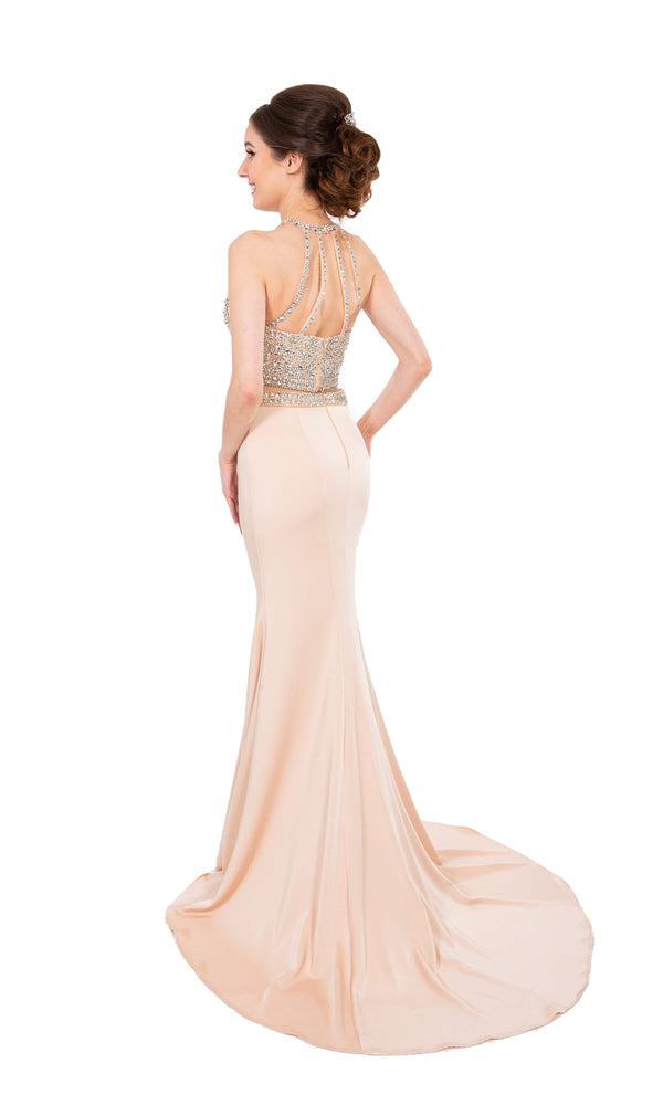 PF9636 Nude Prom Frocks Two Piece Dress With Train