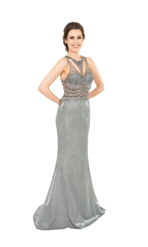 PF9657 Pewter Prom Frocks Metallic Shimmer Fabric Dress - Fab Frocks