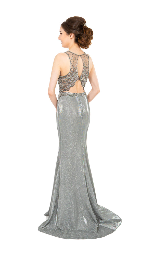 PF9657 Pewter Prom Frocks Metallic Shimmer Fabric Dress