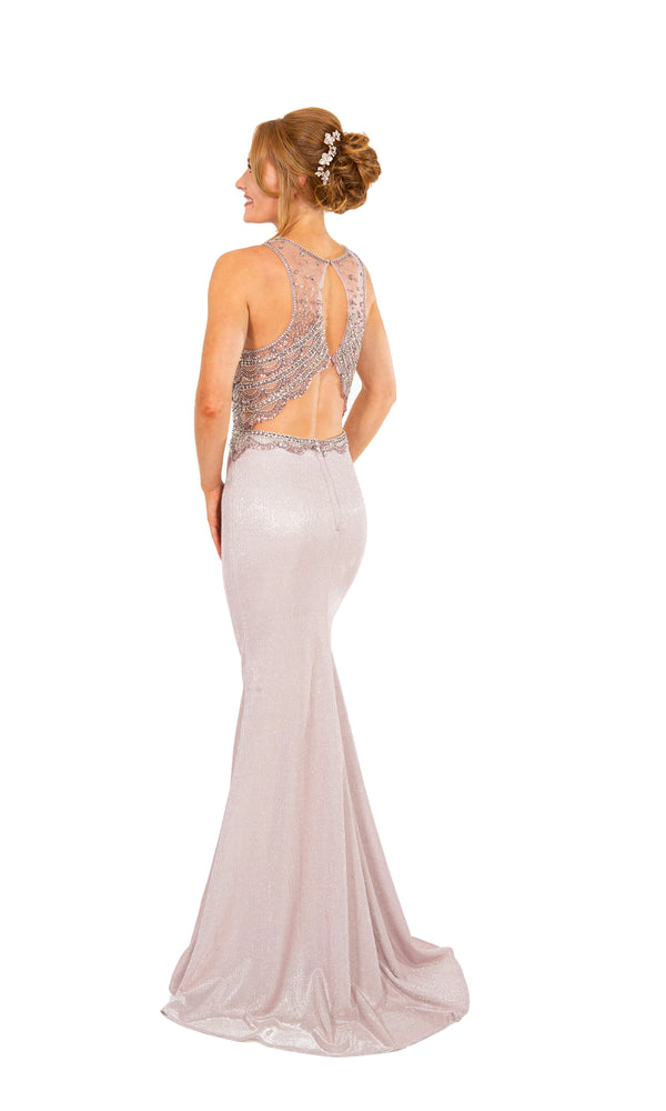 PF9657 Pastel Pink Prom Frocks Dress With Glitter Fabric