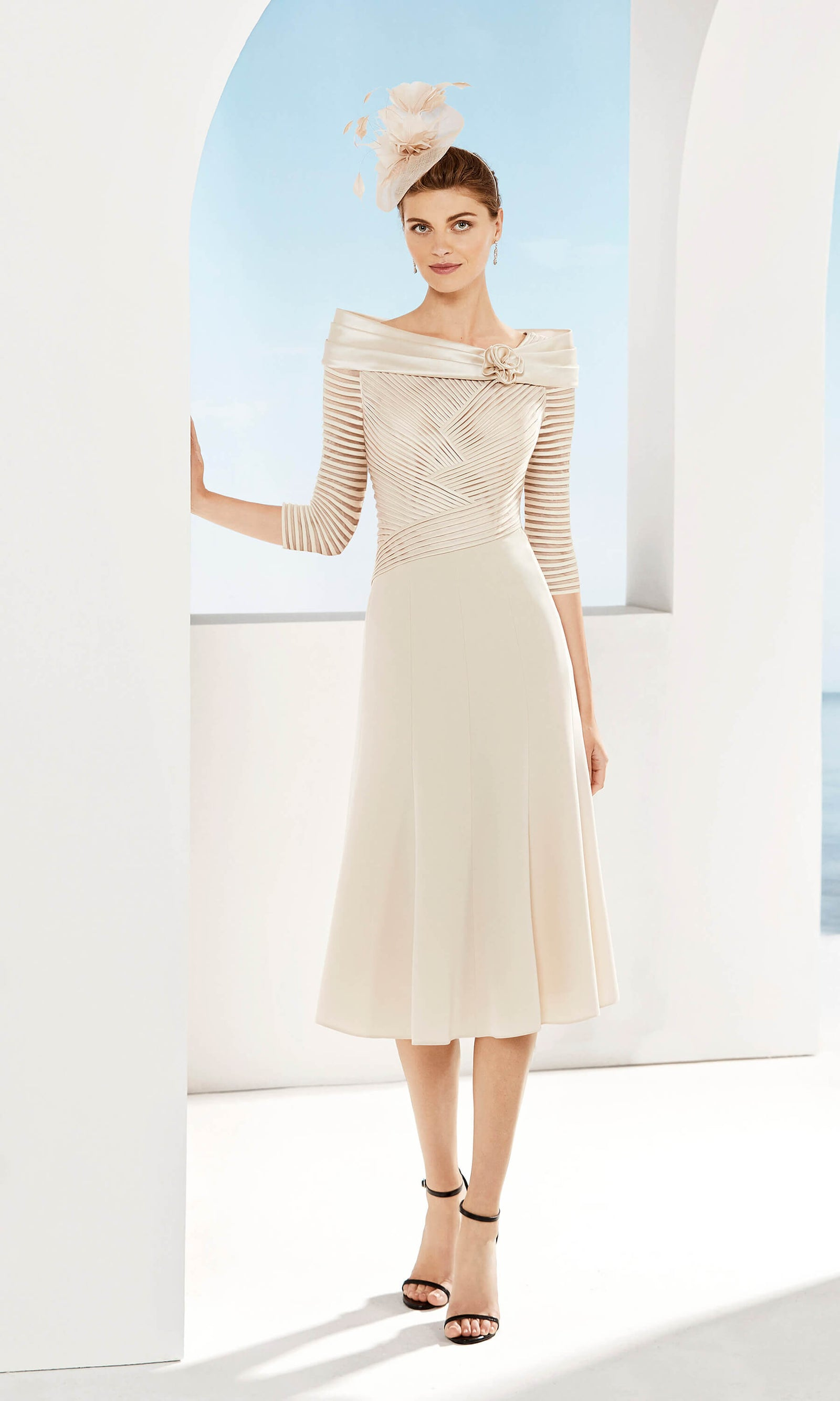 3G184 Beige Couture Club Off-The-Shoulder Special Occasion Dress