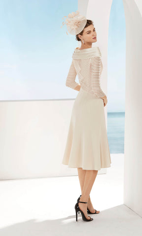 3G184 Beige Couture Club Off-The-Shoulder Special Occasion Dress - Fab Frocks