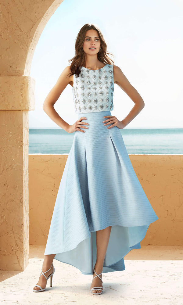 2J2A9 Blue Marfil Barcelona 2-Piece Hi-Lo Occasion Dress