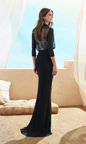 3J150 Black Marfil Barcelona Evening Dress With Sleeves