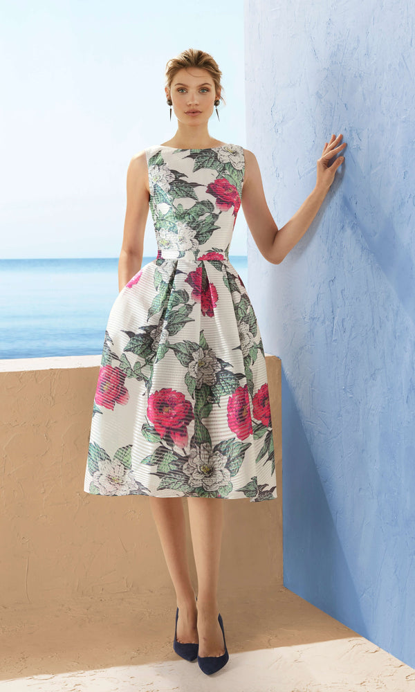 3J190 Rose Print Marfil Barcelona Backless Hi-Lo Dress