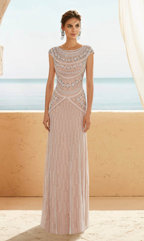 3J1C6 Silver Nude Marfil Barcelona Beaded Occasion Dress