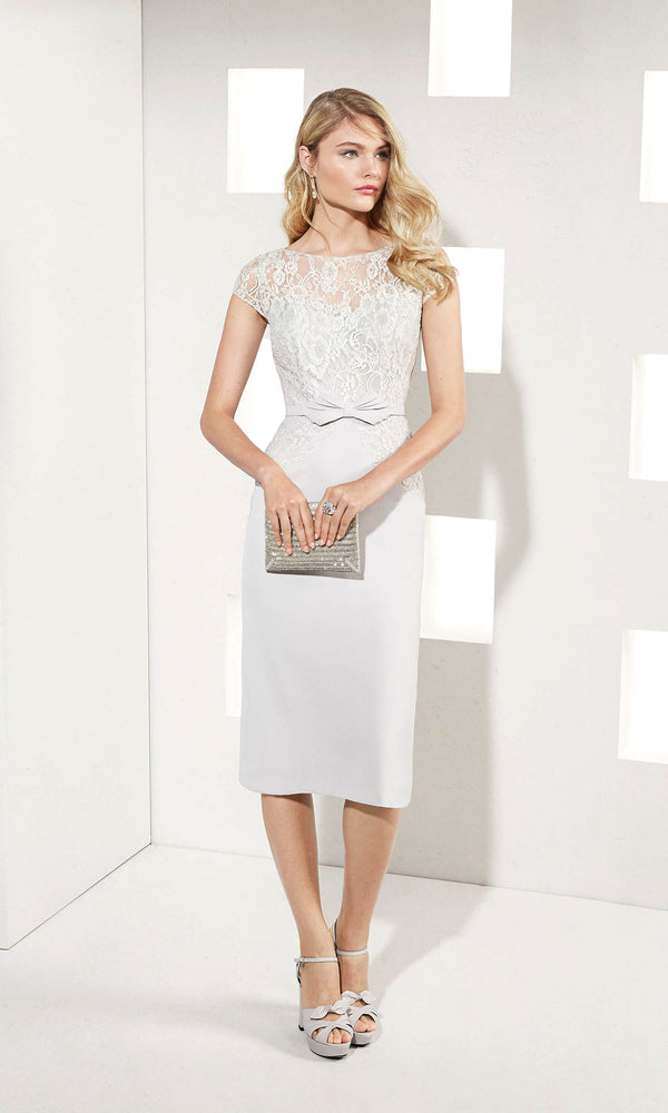 3T2A8 Silver Grey Marfil Barcelona Dress With Lace Cape