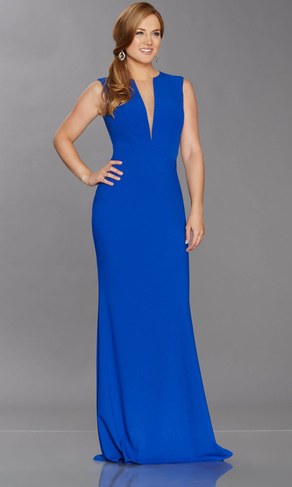 Blake Royal Blue Tiffanys Plunge Neck Evening Prom Dress - Fab Frocks