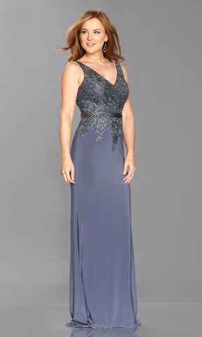Bridget Charcoal Tiffanys V Neck Evening Prom Dress - Fab Frocks