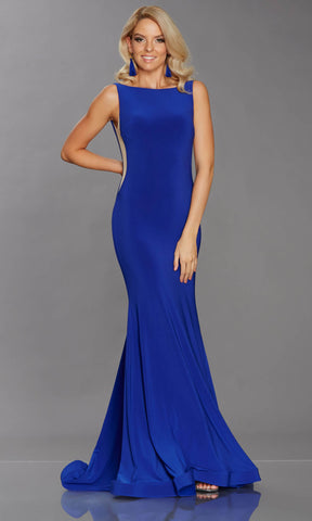Brooke Royal Blue Tiffanys Mesh Panel Evening Prom Dress