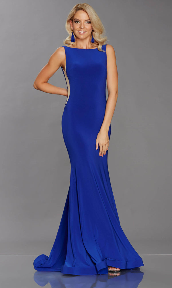 Brooke Royal Blue Tiffanys Mesh Panel Evening Prom Dress - Fab Frocks