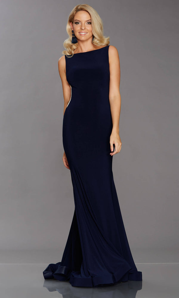 Brooke Navy Tiffanys High Neck Evening Prom Dress