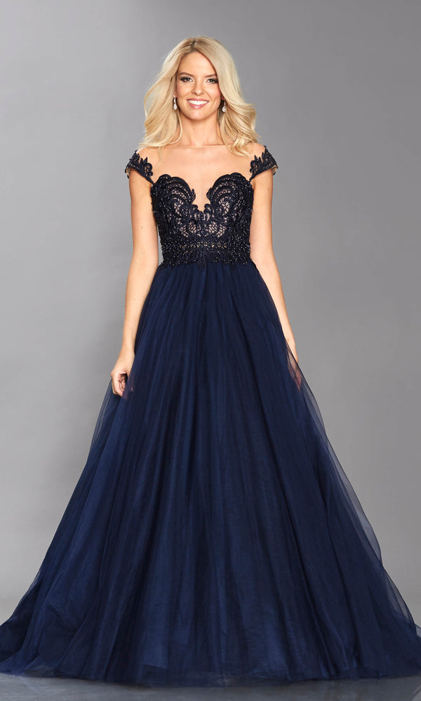 Bryony Navy Tiffanys Lace Top Illusion Ballgown