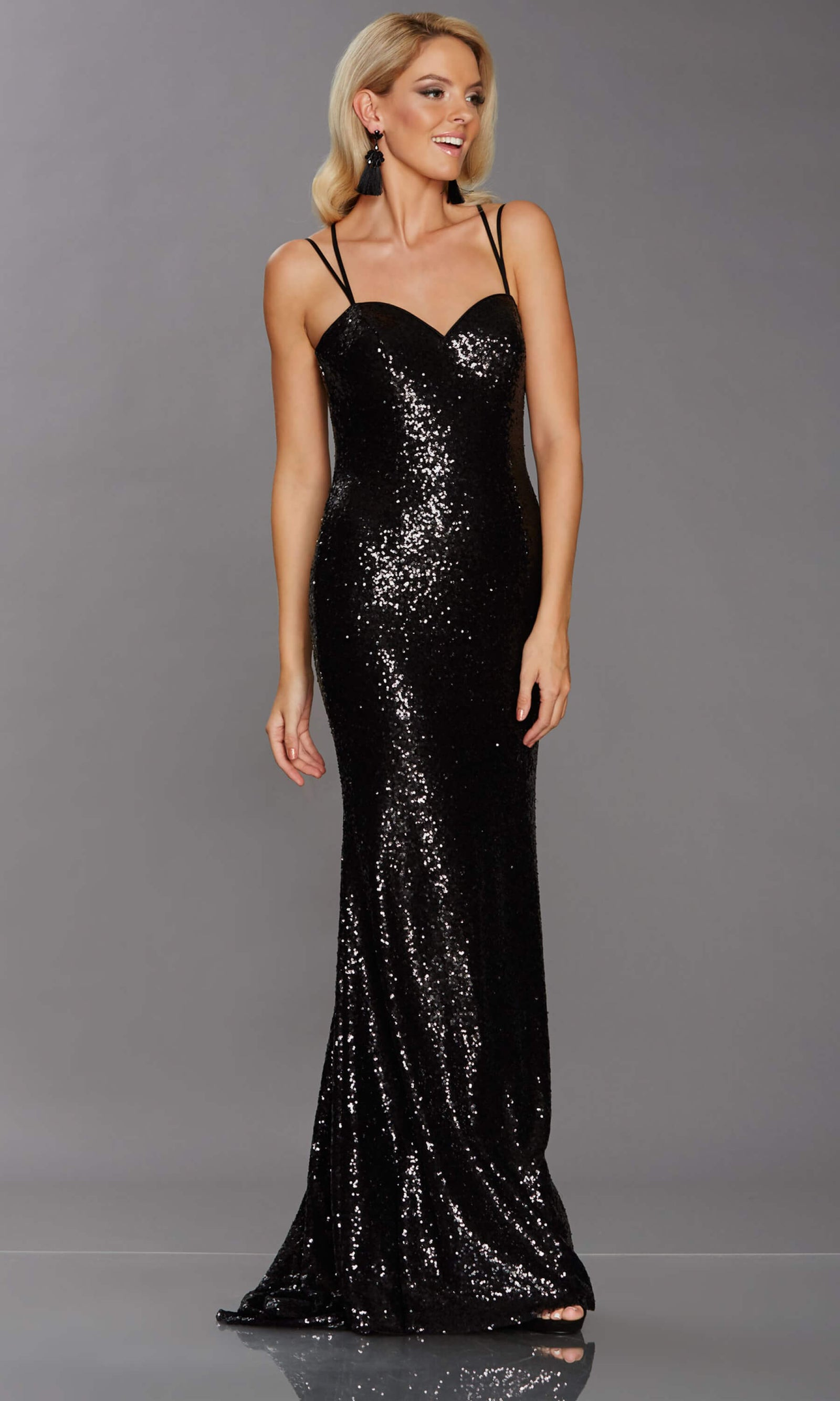 Cali Black Tiffanys Sequin Spaghetti Strap Dress - Fab Frocks