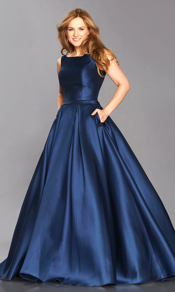 Emily Navy Tiffanys High Neck Ballgown With Pockets - Fab Frocks