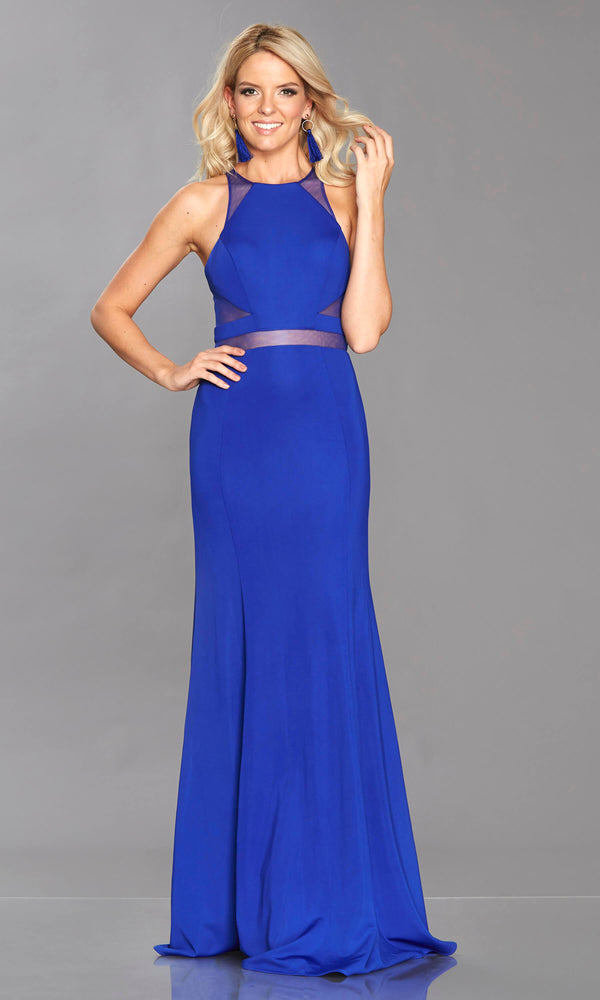 Geri Royal Blue Tiffanys Mesh Panel High Neck Dress