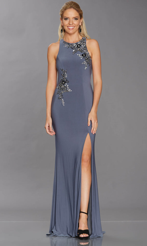 Megan Charcoal Tiffanys High Neck Evening Prom Dress - Fab Frocks