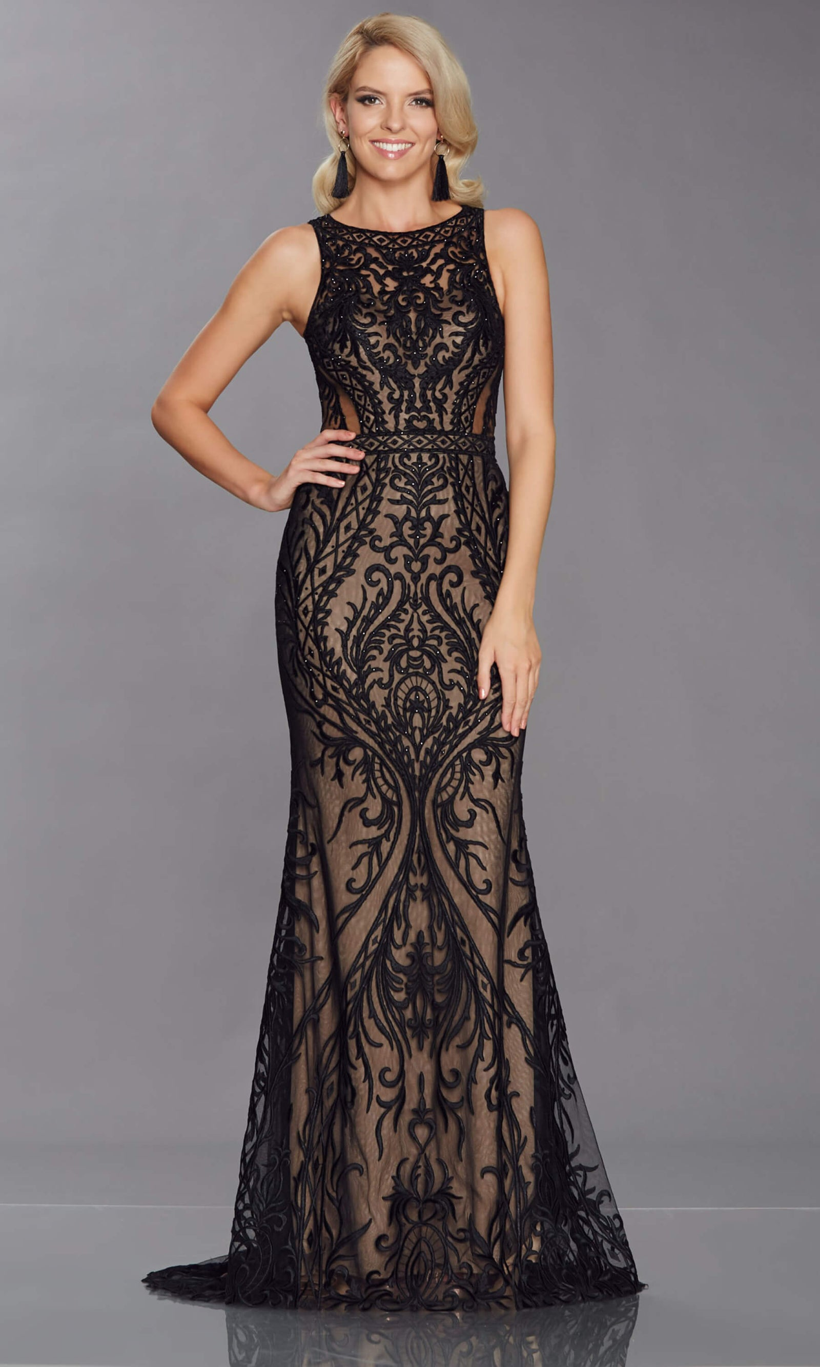 Nyla Black Nude Tiffanys Highneck Evening Prom Dress - Fab Frocks