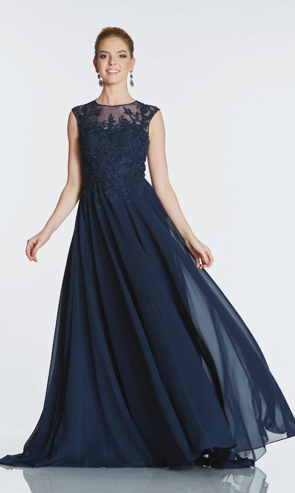 Tiffanys Illusion Fernanda* Navy Evening Prom Dress - Fab Frocks